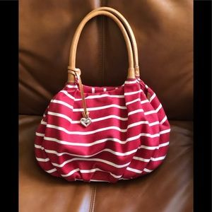 Brighton Canvas Red & White Stripe Bag. Like new!